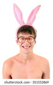 Funny Young Man in Bunny Ears on the White Background