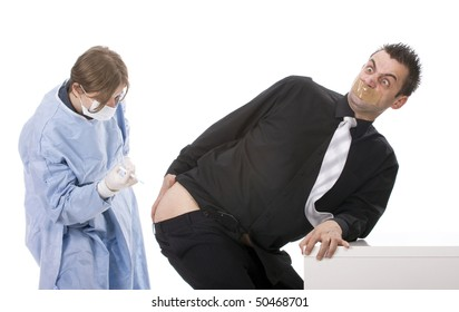 Funny young man scared of injections