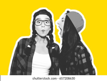 Funny young woman crazy shouting scream to another one. Colorful comic funny emotional hipster summer style twins teenager girls screaming, make faces and have fun. Isolated on a grey background