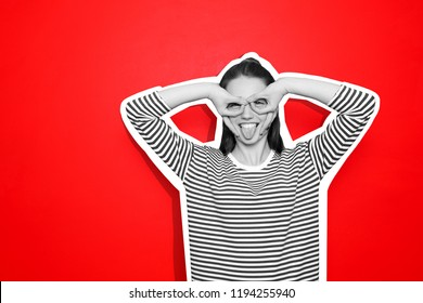 Funny young woman on color background. Black and white effect on photo