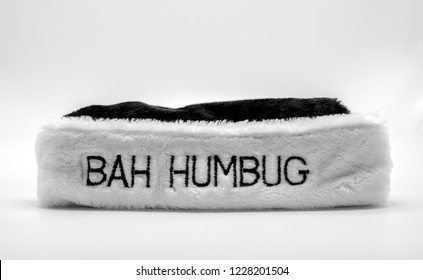 fur brim of a hat saying Bah Humbug isolated in black and white