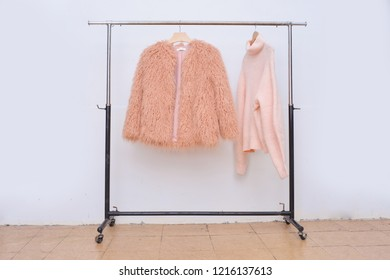 fur clothes with jacket ,sweater hat isolated