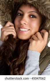 Fur Coat Girl Smiling
