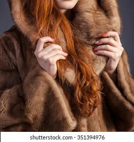 Fur coat winter fashion elegant Woman clothes in mink fur coat