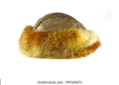 bfbffe8b5ed Fur hat isolated on white background.
