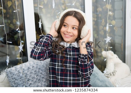 7a04e52775cf7 Fur headphones accessory. Girl cute child wear soft furry headphones. Warm  fashion accessory.