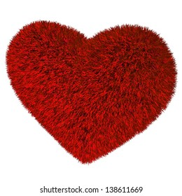 Fur Heart. 3d render illustration isolated at white background