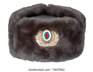 8111476076f Fur military uniform cap of the Russian militiaman isolated on a white  background