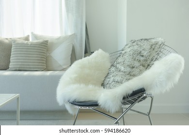 Fur and pillow on modern armchair in cozy living room