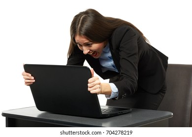 Furious business woman at her laptop on white background