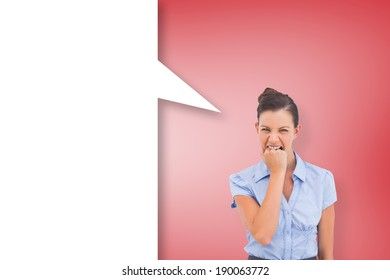 Furious businesswoman with speech bubble against red vignette