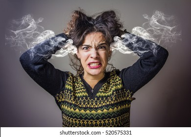 Furious and frustrated caucasian woman steaming with rage