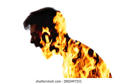 Furious man. Rage emotion. Hysteria scream. Burning anger. Double exposure of aggressive male silhouette covered in yellow orange fire isolated on white background.