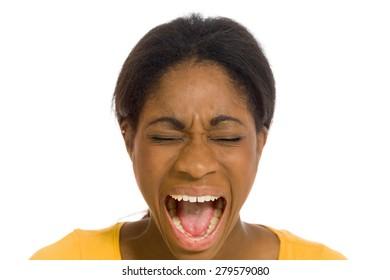Furious model screaming