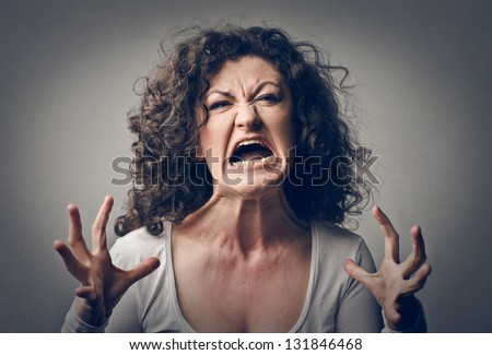 furious woman screaming