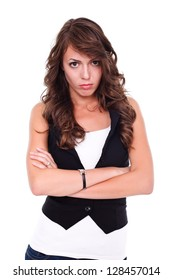 Furious young woman over white background