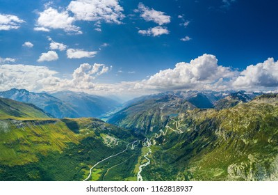 The Furka Pass with an elevation of 2,429 metres (7,969 ft), is a high mountain pass in the Swiss Alps connecting Gletsch, Valais with Realp, Uri. The Furka Oberalp Bahn line through the Furka Tunnel