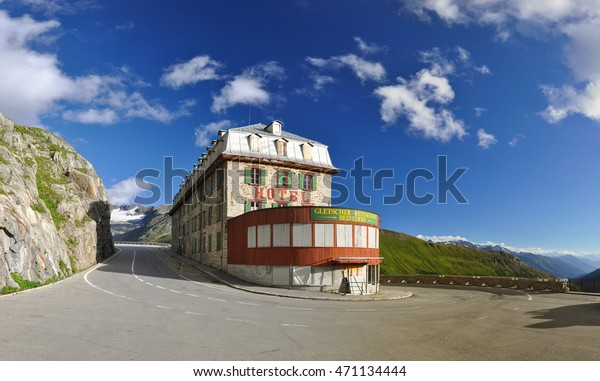 Furka Pass, Switzerland - August 12, 2016: Mountain Hotel Belvedere located at Furka pass which is the border between the Swiss cantons Uri and Wallis. The pass is known from James Bond Goldfinger.