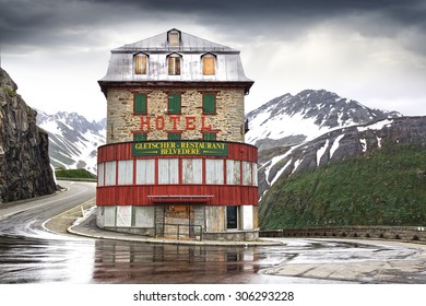 FURKAPASS, SWITZERLAND - JUNE 20, 2015: Hotel Belvedere at Furka Pass 2436 m. Road over Furkapass was built in 1867. Furkapass featured in the James Bond film Goldfinger.