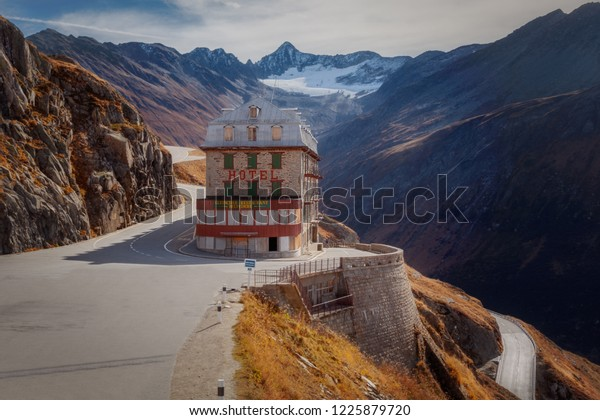 FurkaPass, Switzerland - October 26, 2018 : Hotel Belvedere at Furka Pass 2436 m high . The road over Furkapass was built in 1867.