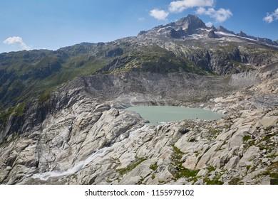 Furkapass Switzerland with sunny blue sky in summer, rhone glacier
