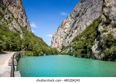 Furlo, the famous italian gorge in Marche. Nature reserve from 12/06/2001, river Metauro, flaminia road