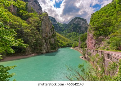 furlo gorge, river and mountains landscape