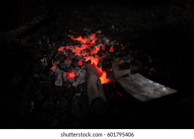 Furnace with charcoal and knifes