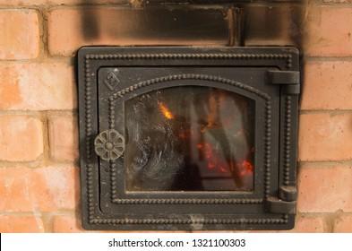 furnace glass door in soot