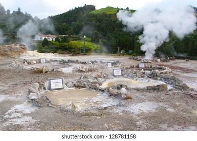 Furnas fumaroles in San Miguel (Sao Miguel) island, Azores