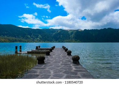 Furnas Lagoon Bridge, Cloud and Sunny Day, Sao Miguel Island, Azores