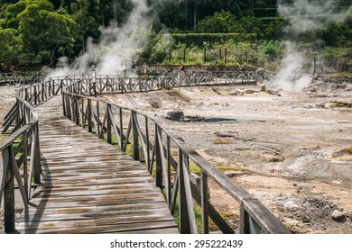 FURNAS, SAO MIGUEL, AZORES - JUNE 30: Hot-springs (Caldeiras das Furnas) in the central village of Furnas on the Portuguese island of Sao Miguel in the Azores on JUne 30, 2015.