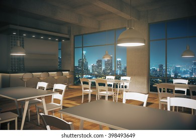 Furnished cafe interior with wooden floor and night city view. 3D Rendering