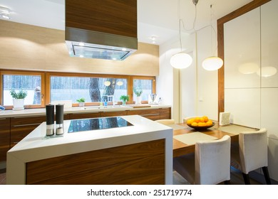 Furnished and cozy kitchen in modern house