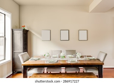 Furnished Dining Room with Place Settings in New Home