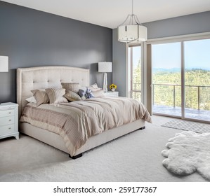 Furnished master bedroom in new luxury home