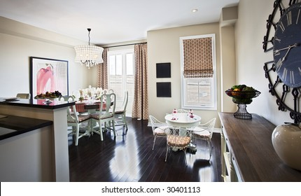 Furnished, modern dining room in luxury home