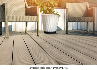 furnished outdoor terrace with wpc wood plastic composite decking boards