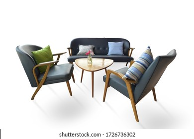 Furniture chair set with center table isolated on white background. This has clipping path.