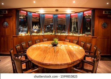 Furniture of a classic boat with traditional interior and chic luxury details