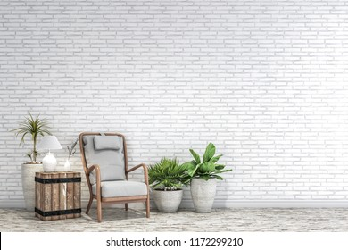 the furniture in front of the white  brick wall.