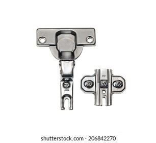 Furniture hardware - hinges on a white background