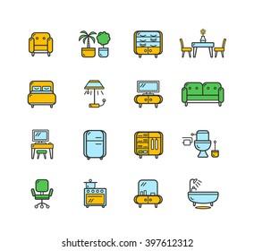 Furniture Icon Set Color on White. illustration