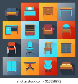 Furniture icons flat set with wardrobe mirror computer table isolated  illustration