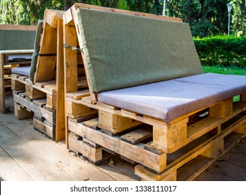 Furniture made from old wooden cargo pallets