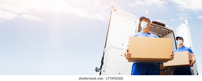 Furniture Move And Removal Using Truck Or Van With Face Mask
