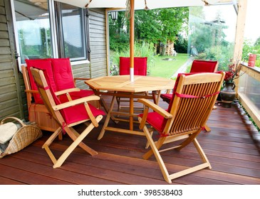 Furniture on patio in the garden
