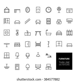 Furniture Outline Icons for web and mobile apps