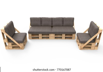 Furniture from pallets isolated on white. 3d render