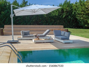furniture for relaxing in the garden. set of sofa, armchairs and coffee table